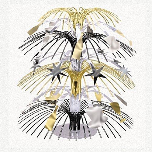 Amscan, nero, argento e oro mini foil Cascade centrotavola (confezione da 3) - Argento Cascade Centrotavola