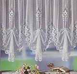 Fertiggardine, Vorhang, Gardine reinweiß mit Universalschienenband (Kräuselband) bereits hochgerafft/ vordekoriert. Leicht an allen gängigen Gardinenschienen und Gardinenstangen anzubringen, 120cm hochgerafft x 2 Bögen für Dekobreite 100-130cm, Typ10