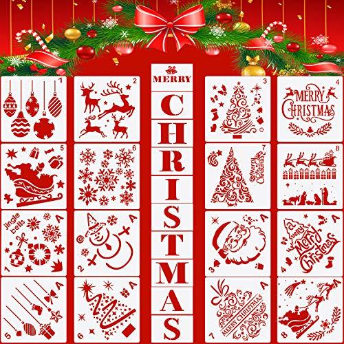 Outus 26 Stück Weihnachten Schablonen Vorlagen Weihnachtsbriefe Weihnachtsbäume Santa Rentier Malerei Schablonen Wiederverwendbare Kunststoff Basteln Vorlagen für DIY Weihnachten Dekoration