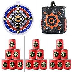 Tosbess Kit de Cibles - Inclus 1 Sac de Munitions + 1 Cible de Fléchette de Ventouse + 18 EVA Souple Cibles de Balles - Jeu de Tir pour Nerf Nerf N-Strike Elite