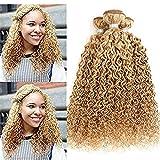 AEHAIR Humain Extension des Cheveux 8A Brésilien Vierge Kinky Bouclé Cheveux Tissage Trames 100% Non traité Cheveux Couleur 27# Miel Blond 1 pc (95-100g/pièce), 24'
