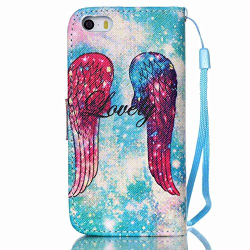 Owbb Bookstyle Housse Coque de protection en PU cuir pour iPhone 5/ 5S /5G / SE Smartphone-carillon de vent Color 04