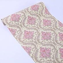 Autoadhesivo Damask papel de contacto cajón estante maletero Peel y Stick–Papel pintado para pared para artes manualidades (rosa, 17.68X 393()