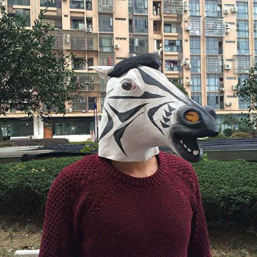 YaPin Halloween Adult Einhorn Party Party Maske Latex Zebra Maske Pferd Kopf Kind Horror Tier Kopfbedeckungen (Zebra Halloween Kinder Make-up)