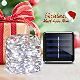 Criacr Solar Powered String Lights, (100 LED 2 Modes) Starry Fairy Lights, 33 ft/10m Solar Fairy Lights, Waterproof 1.2 V Portable with Light Sensor for Patio, Garden, Home, Wedding, Party (White) Bild 6