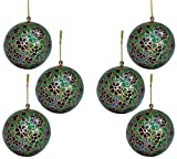 Set of 6 Paper Mache Balls Wooden Christmas Tree Decorations- Beautiful Gifts for Home Décor