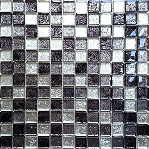 Carrelage mosaïque en verre. Noir Argent Violet. Les feuilles entières de carreaux mesurent 30cm x 30cm (MT0004)