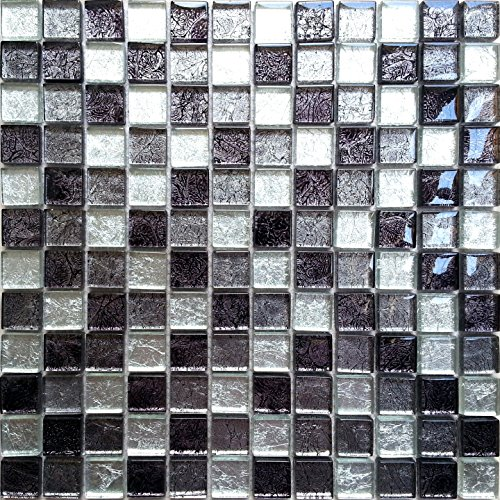 Black And Silver Glass Mixed Bathroom Kitchen Mosaic Tiles Sheet (MT0004) (1 Sheet)