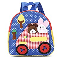 Amody Cartoon Animal Bear Rabbit Car Tree Dot Print Child School Bag Blue