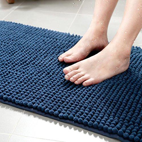 MIDOLY Shaggy Chenille Mikrofaser Shag Bad Teppich Matte rutschfeste saugfähig Super Cozy Badezimmer Schlafzimmer Shag Matte Teppich Waschmaschine Gewaschen 20 * 32 Blau -