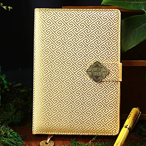 WanTo 50 Blätter Klassischen Chinesischen Stil Geschnitzte Notebook Kreative Chinese Dragon Brocade Notizblock Mode Geschäftsgeschenk Notebook, 16 - Brocade Mode