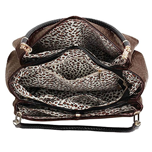 TrendStar Frauen Stilvolle Schulterhandtaschen Der Damen Kunstleder Designerin Griff Taschen Kaffee