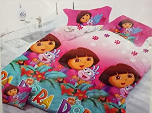Upneja Handloom HD Dora Printed Polycotton Double Bedsheet with Two Pillow Covers, Suitable for Kids