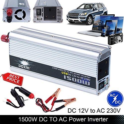 Auto Power Inverter 1500W (3000W Peak) DC 12V to AC 230V Modified Sine Wave