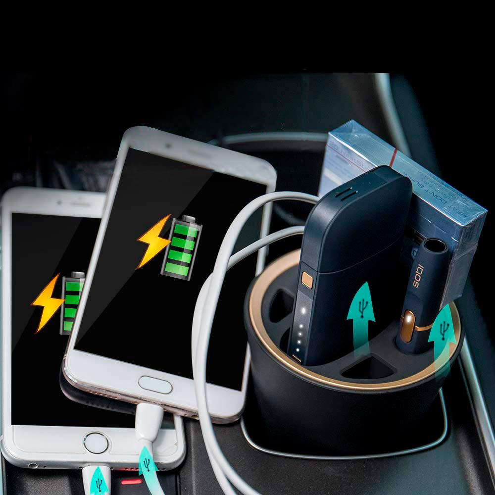 Luxacury iQOS Accessory Holder Car Charger Compartment Ashtray for iQOS  Portable Charger for iQOS Pocket and Holder for Iqos Electronic Cigarette