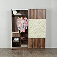 Home Centre Antonio Multicolour Compressed Wood Two Door Sliding Wardrobe - 180.1 cm x 64.4 cm x 202 cm