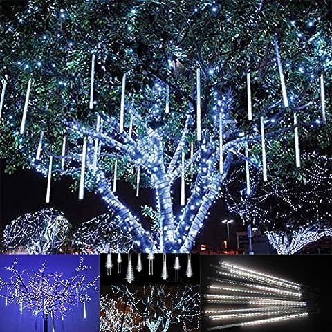 Victorstar @ 30CM 10 Tubi 360 LED Luci Pioggia di Meteore / Luci Nevicata - Matrimonio, Partito, Natale, Xmas, Paesaggio Albero Decorazione - Due Facce di Illuminazione Impermeabile (Luce Bianca) - Albero Di Natale Della Luce Di Notte