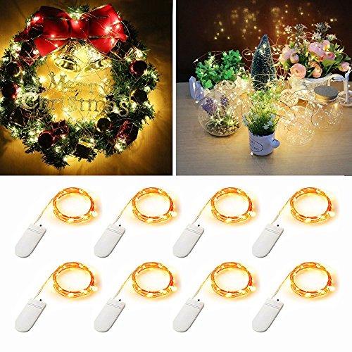 [8er Pack] LED Micro-Lights, (2m/2m) Kupfer Draht wasserdicht LED-Lichterkette, 20LEDs Starry Lichterkette Batteriebetrieben für DIY Hochzeit, Weihnachten, Party, und Home Decor (Warm Weiß (Home Decor Diy)
