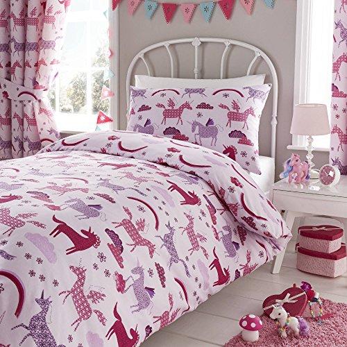Happy linen co - set copripiumino - tema unicorno - rosa - una piazza e mezza