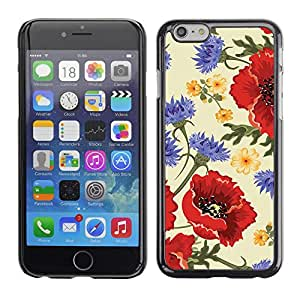 Omega Covers - Snap on Hard Back Case Cover Shell FOR Apple Iphone 6 Plus / 6S Plus ( 5.5 ) - Flower Red Vintage Vignette