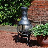 Cast Iron Patio Chiminea BBQ Heater with Mesh Guard Chimney Lid and Poker ,Sliding Door Cooking Grill Log Burner Tall Stove Outdoor Steel Black/Bronze