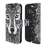 Head Case Designs Wolf Doodle Mix Brieftasche Handyhülle aus Leder für HTC One M9