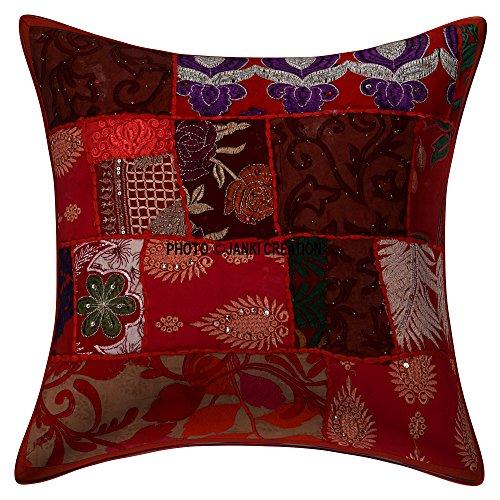 bestickt Ethnic Home Dekorative indischen Sofa Kissenbezug Überwurf Baumwolle Kissen 50,8x 50,8cm indischen Kissenbezug Set, wunderschön Stickereien Ethnic Pailletten Patchwork Traditionelle Kissen Fällen -
