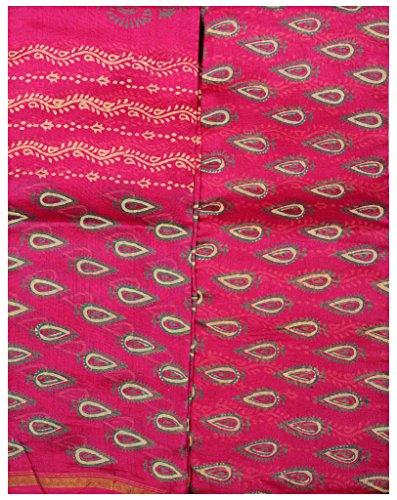 Exotic India Fuchsia Block-Printed Chanderi Salwar Kameez Fabric - fuchsia