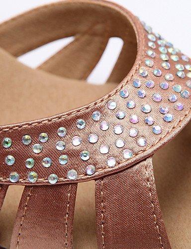 ShangYi Chaussures de danse ( Autre ) - Non Personnalisables - Talon Bobine - Satin - Latine / Jazz / Moderne / Chaussures de Swing Khaki