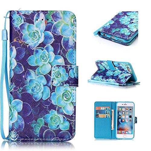 Custodia per iPhone 6 Plus / iPhone 6S Plus, Hancda Modello Elegante Disegni Cover Funzione Stand Custodia in Pelle Portafoglio di Cuoio Libro Sottile Flip Case Protettiva Chiusura Magnetica Antiurto  Fiori blu
