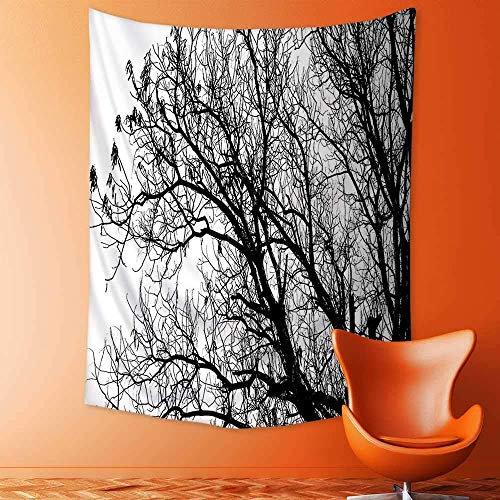 daawqee Tapestry Mystic House Autumn Fall Tree Branches Tops Oak Forest Woodland Season Eco Theme Black and Bedroom Living Room Dorm Wall Hanging Tapestry 150x230 cm Unique Home Decor