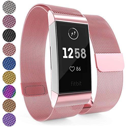 Yousave Accessories Fitbit Charge 3 Armband, Mesh Armband, Edelstahl Sport Ersatzarmband für Fitbit Charge 3 Fitness Tracker, Fitbit Charge3 Armbänder - Rosé Rosa