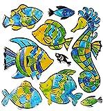 9 TLG. Set 3-D Wandtattoo / Fensterbild / Sticker - Fische Seepferdchen Mosaik - wasserfest - Fisch Unterwasser Fische Bad Fliesen - Wandsticker Aufkleber Bad..