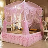 Dormitorio circular pabellón mosquitero naturals incluso chinche no me red mordida insecto repelente-rosado 120x200cm(47x79inch)