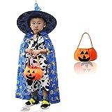 XZM Disfraz infantil de Halloween con sombrero mágico, bolsillo de calabaza de bruja, abrigo de estrella, capa para niños de