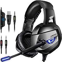 ONIKUMA Auriculares Gaming, Cascos Gaming con Micrófono Reducción de Ruido para PS4, Xbox One, Nintendo Switch, Sonido 7.1 Surround + Aislamiento, Auriculares Gamer para Videojuego