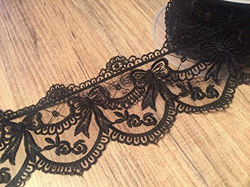 Spitzenband mit schweren gesticktes Detail Zierrand Spitze * 70mm breit * Elfenbein, Weiß oder Schwarz * (Meterware) schwarz Scalloped-edge-box
