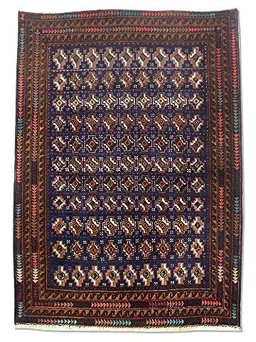Handgeknüpfter Baluchi Teppich, Dunkelblau, Wolle, 109 X 152 cm