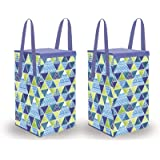 Wonder Cub Laundry Basket for Clothes foldable|Toy Storage Box with lid & Handles (75 LTR), Set of 2, Multi Trio