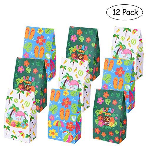 LUOEM Luau Hawaii Papier Treat Taschen Sommer Party Favor Süßigkeiten Taschen Papier behandeln Säcke für Sommer Hochzeit Geburtstag Baby Shower Party Geschenk Candy Cookie Cupcake Spielzeug (12 Pack)