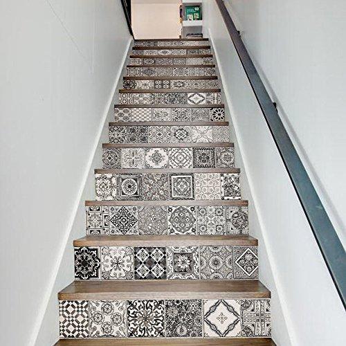 Frolahouse Schälen Sie Und Haften Sie Dekorative  Treppen Aufkleber Schwarz Weiß 13 Stücke, Kreative Dekorative Antiker  Entfernbarer Tapeten 3D ...