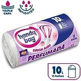 Handy Bag Bolsas de Basura 10 L Baño, Extra Resistentes, Perfumadas, 15 Bolsas