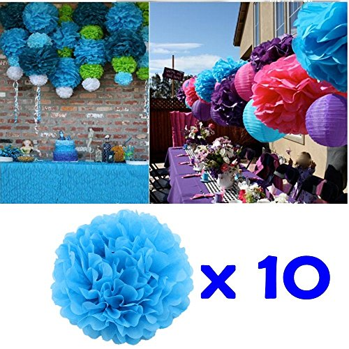 pons, 25cm Durchmesser, Seidenpapier blume Dekoration für Wohnzimmer Hochzeit Geburtstag Babyparty Kinder Party Weihnachten Silvester, blau (Blau Party Dekorationen)