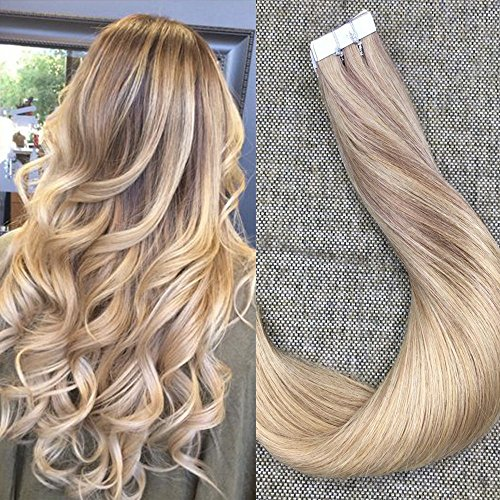 Full Shine 16 Zoll Pro Paket Ombre Tape 20Pcs 50Gram in Tressen Echthaar Extensions #10 Fading to #16 with #16 Balayage Brasilianisch Remy Tape Hair Extensions (Extensions 24 Remy Hair Indischen)