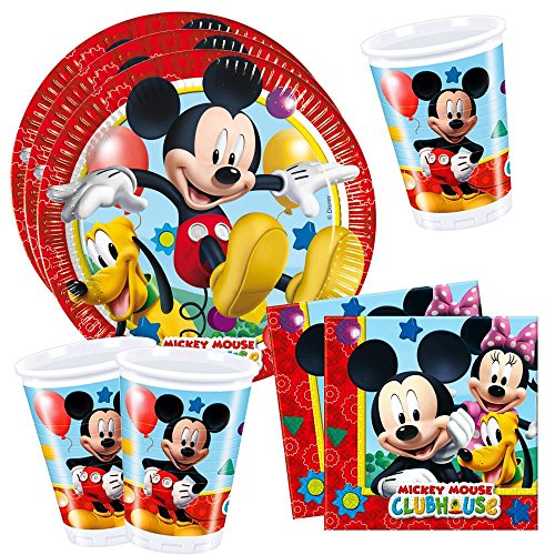 Disney-Mickey-Mouse-Anniversaire-Party-Set-8x-Assiettes-8x-Gobelets-20x-Serviettes