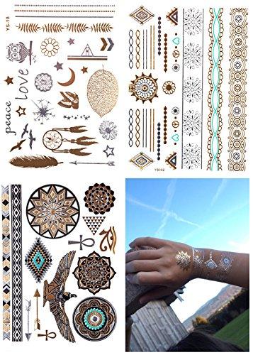 Oro adhesivo Flash Tatuajes 3hojas Flash Tatuajes