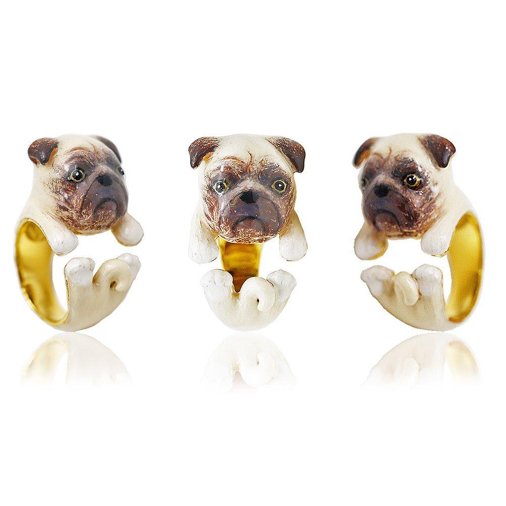 LeKis Pug Ring Dog Wrap Ring Animal Jewelry Dog Jewelry dog lover ring Adjustable Ring Handmade Gift idea
