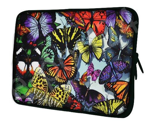 Luxburg® Design Laptoptasche Notebooktasche Sleeve für 13,3 Zoll, Motiv: Bunte Schmetterlinge