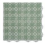 andiamo 202401 Kunststofffliese Bodenfliese Gartenfliese Terassenfliese Balkonfliese Innen- und Außenbereich Wasserdurchlässig wetterfest pflegeleicht langlebig 38 x 38 cm, Set: Bestehend aus 7 Fliesen 1 m², grün