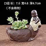 Hagyh Bunte Tontopf Topfpflanzen, Kleine buddhistische Mönche, schöne Buddha, Tischplatte, Zen-Keramik, Ornamente, Fleisch, Lila Sand, Kleine Blumentöpfe, Kein Wort Stil - Malerei, Klein